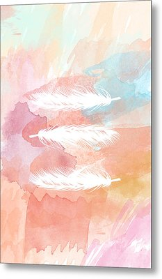 Watercolor Feathers Metal Print by Sara Habecker