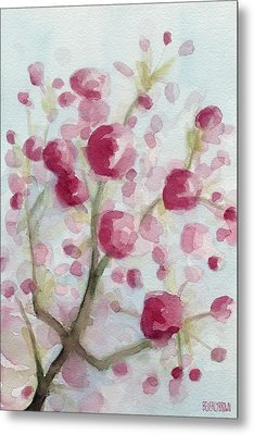 Watercolor Painting Of Pink Cherry Blossoms Metal Print by Beverly Brown