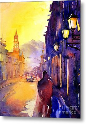 Watercolor Painting Of Street And Church Morelia Mexico Metal Print by Ryan Fox