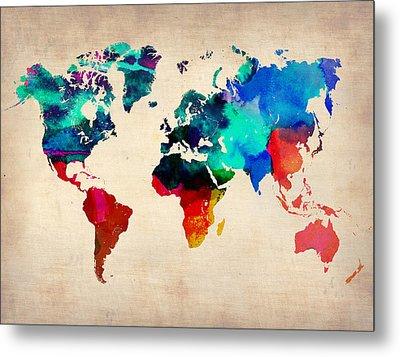 Watercolor World Map Metal Print by Naxart Studio