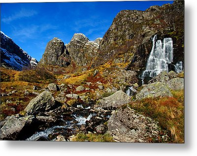 Waterfall In Autumn Mountains Metal Print by Gry Thunes