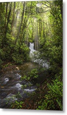 Waterfall In The Forest Metal Print by Debra and Dave Vanderlaan