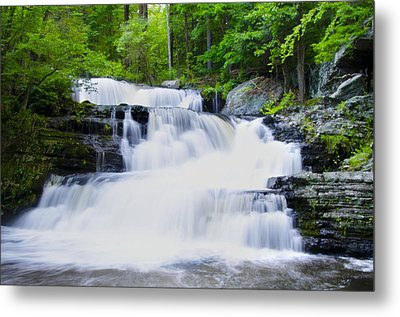 Waterfall In The Pocono Mountains Metal Print by Bill Cannon