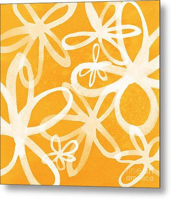 Waterflowers- Orange And White Metal Print by Linda Woods