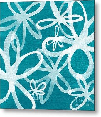 Waterflowers- Teal And White Metal Print by Linda Woods