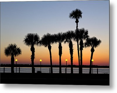 Waterfront After Dark Metal Print by Debra and Dave Vanderlaan