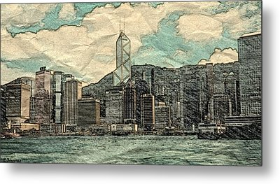 Waterfront View Of Hong Kong Metal Print by Pamela Blayney