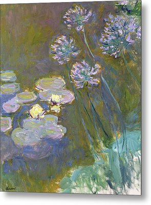 Waterlilies And Agapanthus Metal Print by Claude Monet