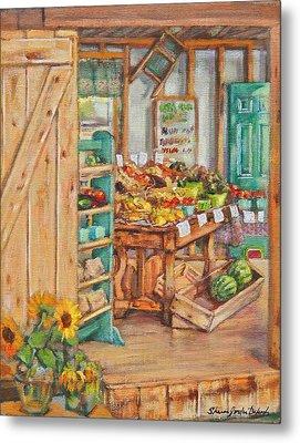 Watermelon Farm Stand Metal Print by Sharon Jordan Bahosh