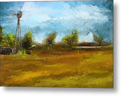 Watson Farm In Rhode Island - Old Windmill And Farming Art Metal Print by Lourry Legarde