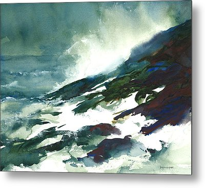 Wave And Rocks - Storm On The North Shore Metal Print by William Beaupre