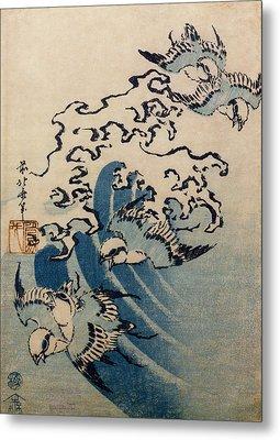 Waves And Birds Metal Print by Katsushika Hokusai