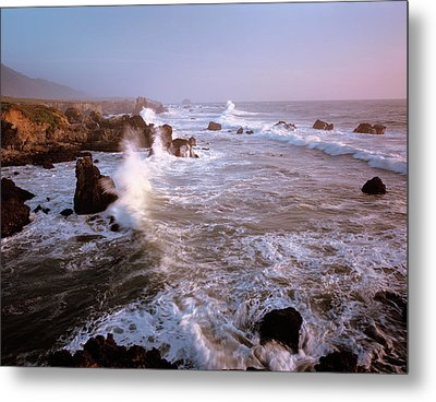 Waves Crashing On The Rugged Big Sur Metal Print by Greg Probst