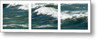 Waves Triptych Ll Metal Print by Michelle Calkins