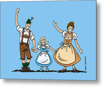 Waving Bavarian Couple With Daughter Metal Print by Frank Ramspott