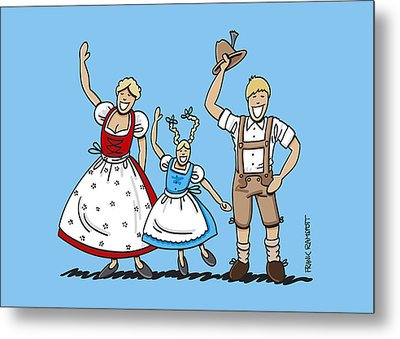 Waving Dirndl And Lederhosen Family Metal Print by Frank Ramspott