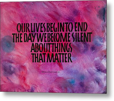 We Become Silent Metal Print by Elissa Barr