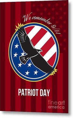 We Remember 911 Patriot Day Retro Poster Metal Print by Aloysius Patrimonio