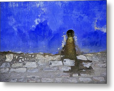 Weathered Blue Wall Of Old World Europe Metal Print by David Letts