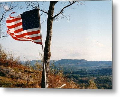 Weathered Stars And Stripes Metal Print by David Fiske