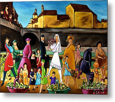 Wedding In Front Of Bridge Metal Print by William Cain
