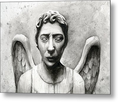 Weeping Angel Don't Blink Doctor Who Fan Art Metal Print by Olga Shvartsur