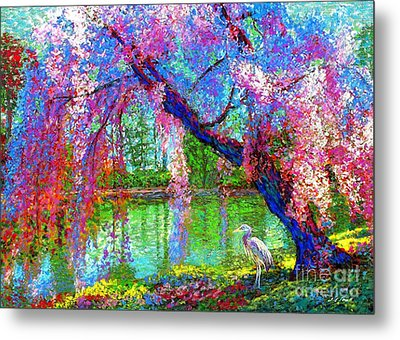 Weeping Beauty, Cherry Blossom Tree And Heron Metal Print by Jane Small