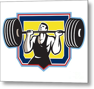 Weightlifter Lifting Heavy Barbell Retro Metal Print by Aloysius Patrimonio