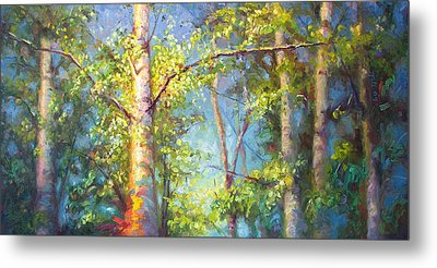 Welcome Home - Birch And Aspen Trees Metal Print by Talya Johnson