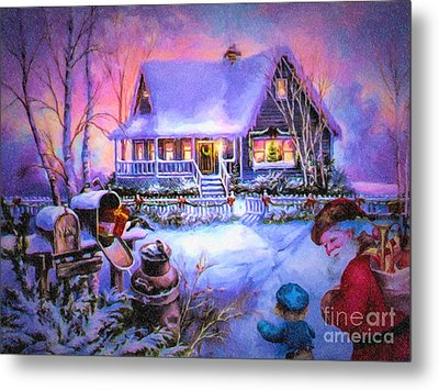 Welcome Santa - Retro Vintage Inspired Christmas Scene Metal Print by Lianne Schneider