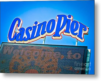 Welcome To Casino Pier Metal Print by Colleen Kammerer