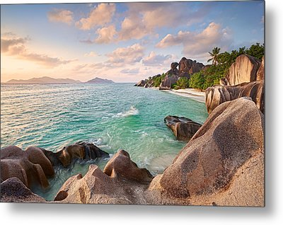 Welcome To La Digue Metal Print by Michael Breitung