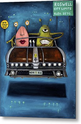 Welcome To Roswell Metal Print by Leah Saulnier The Painting Maniac