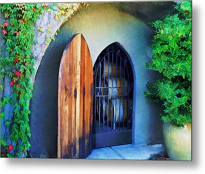 Welcome To The Winery Metal Print by Elaine Plesser