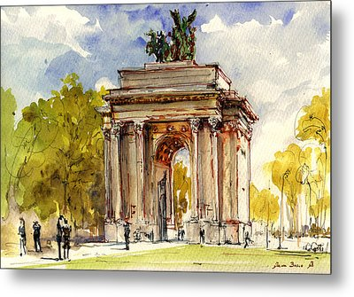 Wellington Arch Metal Print by Juan  Bosco