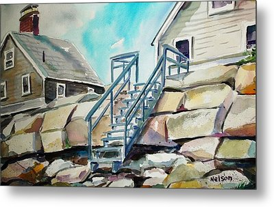 Wells Beach Beach Stairs Metal Print by Scott Nelson