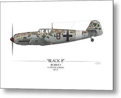 Werner Schroer Messerschmitt Bf-109 - White Background Metal Print by Craig Tinder