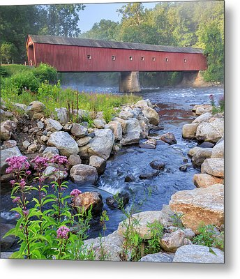 West Cornwall Covered Bridge Square Metal Print by Bill Wakeley