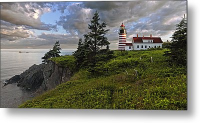 West Quoddy Head Lighthouse Panorama Metal Print by Marty Saccone