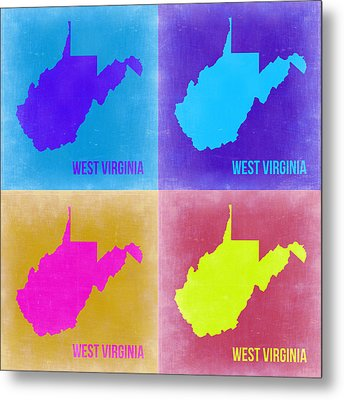 West Virginia Pop Art Map 2 Metal Print by Naxart Studio