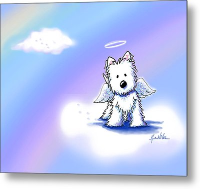 Westie Angel At Rainbow Bridge Metal Print by Kim Niles