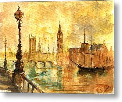 Westminster Palace London Thames Metal Print by Juan  Bosco