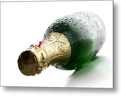 Wet Champagne Bottle Metal Print by Johan Swanepoel