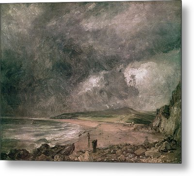 Weymouth Bay With Approaching Storm Oil On Canvas Metal Print by John Constable