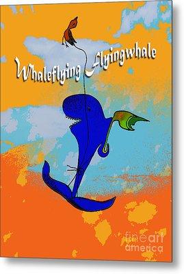 Whale Flying Flying Whale Metal Print by Mukta Gupta