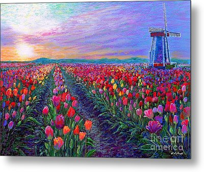 Tulip Fields, What Dreams May Come Metal Print by Jane Small