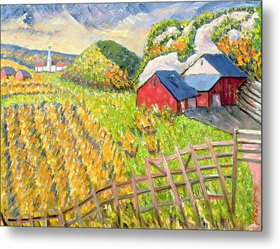 Wheat Harvest Kamouraska Quebec Metal Print by Patricia Eyre