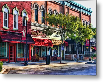 Wheaton Front Street Store Fronts Metal Print by Christopher Arndt