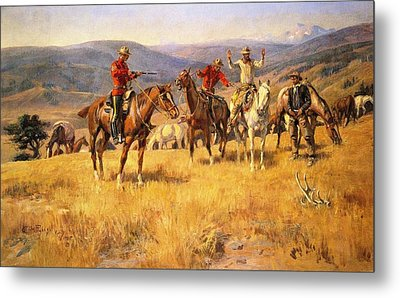 When Law Dulls The Edge Of Chance Metal Print by Charles Russell