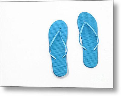 Where On Earth Is Spring - My Blue Flip Flops Are Waiting Metal Print by Andee Design